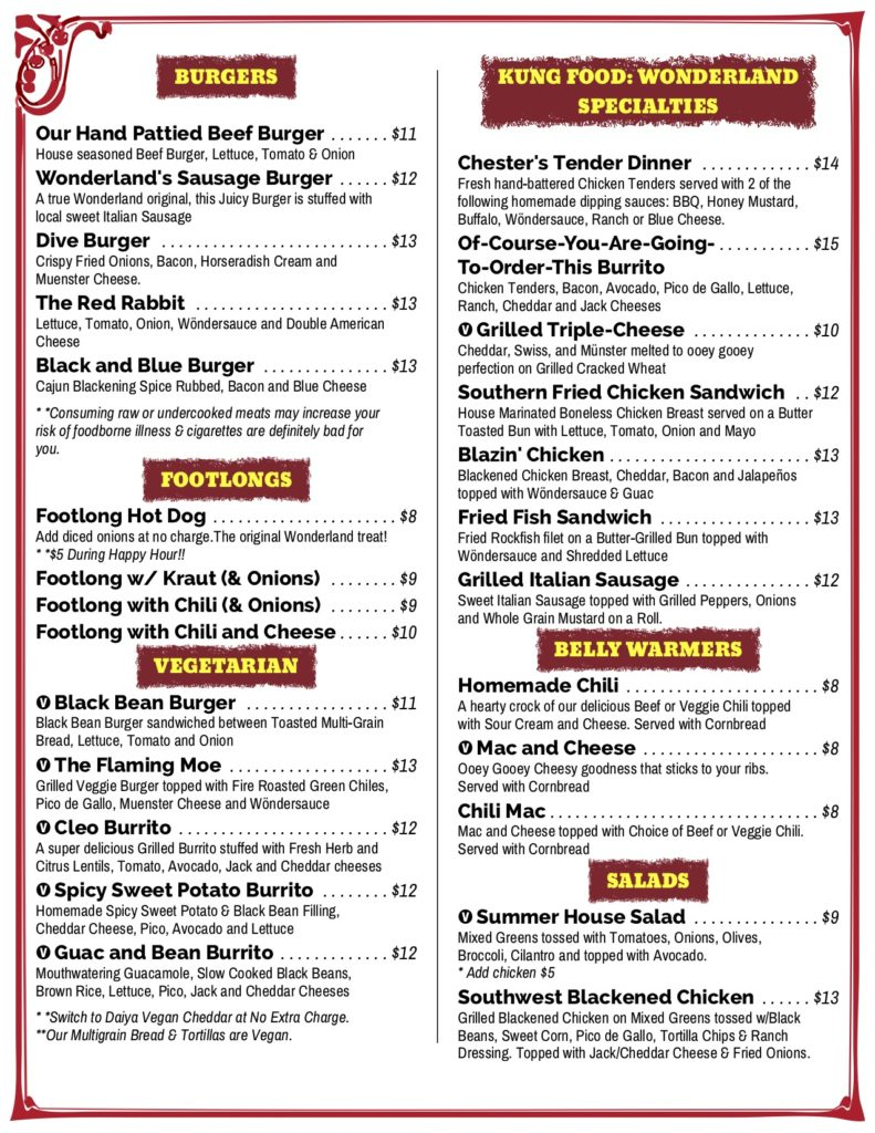Menus | We serve traditional pub fare and eclectic dishes